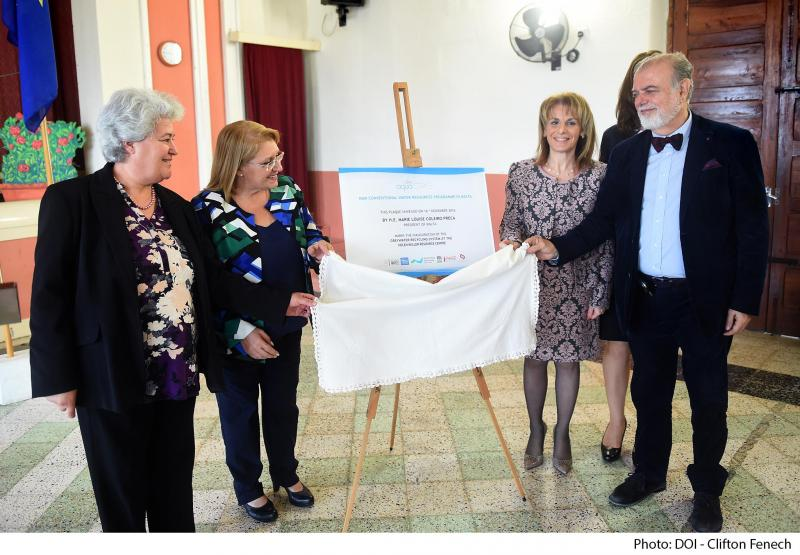 Plaque unveiling at the Hellen Keller Resource Centre  From left: Ms Connie Richard, Head of Hellen Keller Resource Centre; HE Ms Marie Louise Coleiro Preca President of Malta;  Ms Maria Micallef Chief Operating Officer GSD Marketing; Prof. Michael Scoullos GWP-Med Chairman